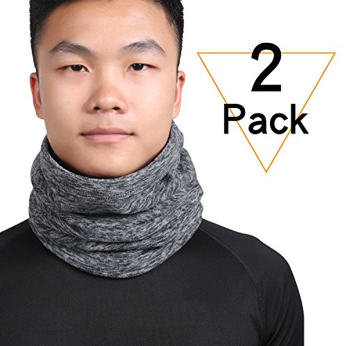 2 Pack Neck Warmer Gaiter, Polar Fleece Ski Face Mask Cover For Winter Cold Weather & Keep Warm (Cold Weather Neck Fleece)