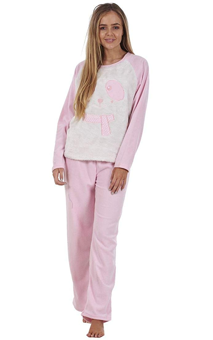 Conjunto de Pijama de Manga Larga para Mujer - Forro Polar - Estampado con Animal - Navidad