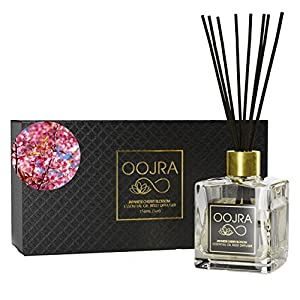 OOJRA Japanese Cherry Blossom Essential Oil Reed Diffuser Gift Set, Glass Bottle, Reed Sticks, Natural Scented Long Lasting Fragrance Oil (3+ Months 5 oz) for Aromatherapy and Air Freshener