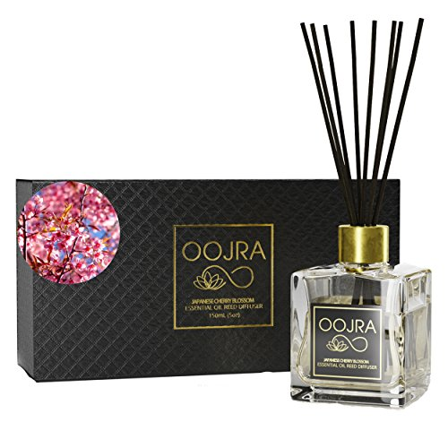 Home Fragrance Oil New Bottle - OOJRA Japanese Cherry Blossom Essential Oil Reed Diffuser Gift Set, Glass Bottle, Reed Sticks, Natural Scented Long Lasting Fragrance Oil (3+ Months 5 oz) for Aromatherapy and Air Freshener