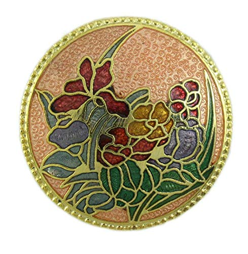 Lilylin Designs Round Peach Cloisonne Field of Flowers Brooch Pin