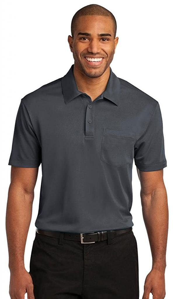 Port Authority Mens Silk Touch Performance Pocket Polo K540P -Steel Grey 3XL