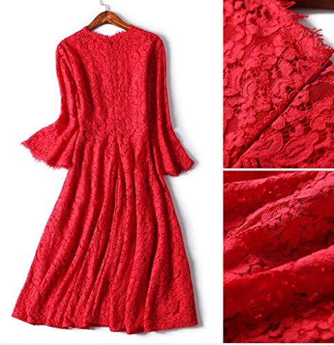 Smile YKK Reizvoll Rundhals Damen Lace Spitzkleid Cocktailkleid Skaterkleid Brautkleid Anlass Kleid Abendkleid 3/4 Aermel Rot J37DYd