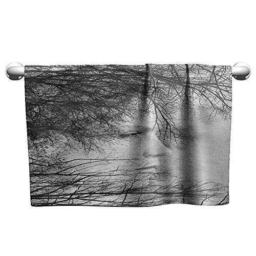 Mannwarehouse Black and White Soft Superfine Fiber Bath Towel Woman Face Among Tree Branches Double Exposure Effect Artistic Print W12 x L27 Black and White