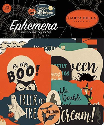 (Carta Bella Paper Company CBHAL104024 Happy Halloween Ephemera, Orange, Black, Blue,)