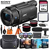 Sony FDR-AX53 4K Ultra HD Video Recording Handycam Camcorder + Vlogging Pro Bundle incl. Video Light, 64GB Memory, Microphone, Wide-Angle & Telephoto Lens, Editing S/W & More