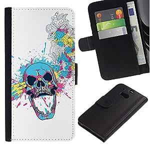 Billetera de Cuero Caso Titular de la tarjeta Carcasa Funda para HTC One M8 / Floral Skull Blast / STRONG