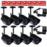 VideoSecu 8 Outdoor Day Night Vision Bullet Security Cameras 520 TVL 36 Infrared LEDs IR-Cut Filter for CCTV DVR Home Surveillance System with Power Supplies and Bonus Security Warning Stickers C9P