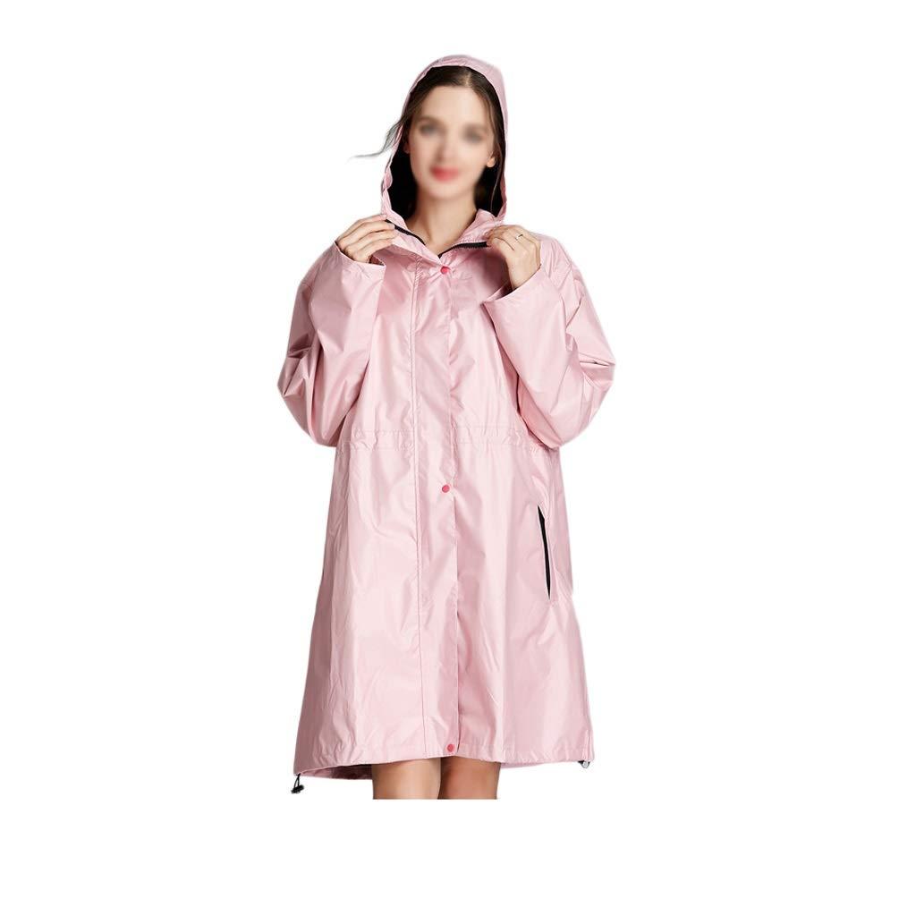 Tragbarer, dünner Damen-Regenmantel, winddichtes und regenfestes Wasserspiel mit Overall und Ärmeln (Color : Pink-B, Größe : XL)