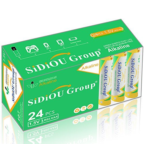 Sidiou Group Alkaline LR03 AAA batteries 1.5 v Dry batteries Disposable batteries AAA or No.7 battery For camera calculator mouse remote control(Pack of 24) (Camera Calculator)