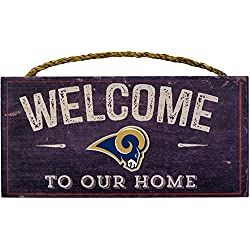 Los Angeles Rams NFL Team Logo Garage Home Office Room Wood Sign with Hanging Rope - WELCOME TO OUR HOME