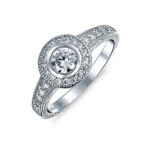 - 1CT Cubic Zirconia Circle Round Solitaire Pave AAA CZ Bezel Halo Promise Engagement Ring For Women 925 Sterling Silver