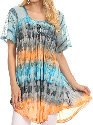 Handmade Embroidered Cotton Top (Sakkas 16786 - Monet Long Tall Tie Dye Ombre Embroidered Cap Sleeve Blouse Shirt Top - Turquoise/Orange - OS)
