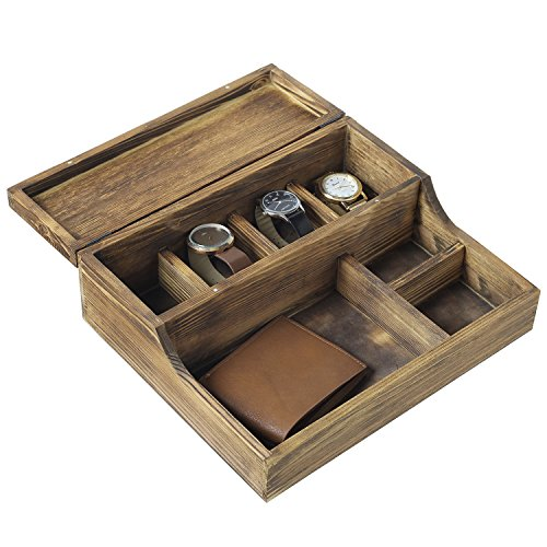 MyGift Rustic Brown Burnt Wood Tabletop Watch Case & Dresser Valet Tray (Tray Brown Mens Wallets)