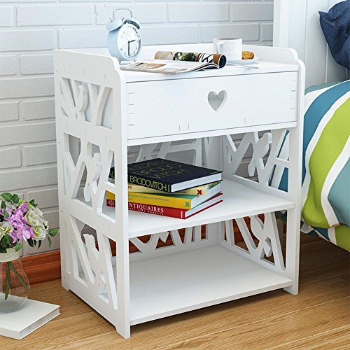 TopHomer Modern Simple Style Storage Cabinet with a Drawer , White Color Night Stand, Bedside Table, End Table for Bedroom Living Room Beside Sofa, Birds Design