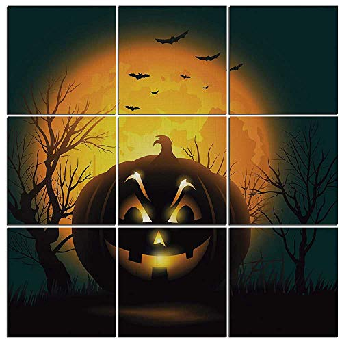 (iPrint 9 Piece Canvas Wall Art - Halloween Modern Home Decor Stretched and Framed Ready to Hang,Fierce Character Evil Face Ominous Aggressive Pumpkin Full Moon Bats)