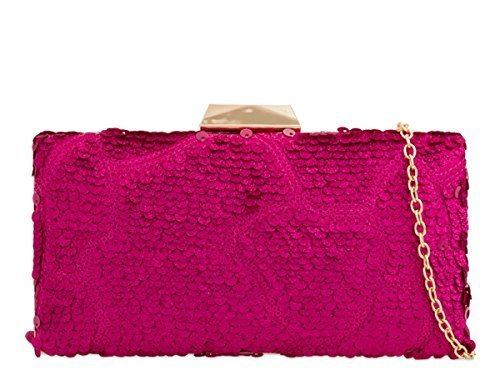 Occasion Hand Fuchsia N21 Ladies Womens Case Hard Party Evening Dressy Sequin Prom Bags Clutch y8zzqwSOAx