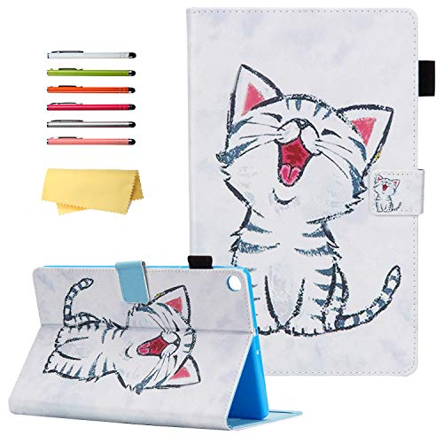 UUcovers for Samsung Galaxy Tab A 10.1 Tablet 2019 Case Model SM-T510/ T515/ T517 with Pencil Holder Card Pockets, Folding Folio Stand Magnetic PU Leather TPU Back Shockproof Cover, Cute Cat Kitty