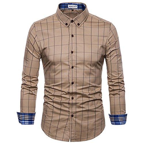 MUSE FATH Long Sleeve Shirt-Cotton Plaid Shirt-Easycare Long Sleeve Shirt-Khaki-S