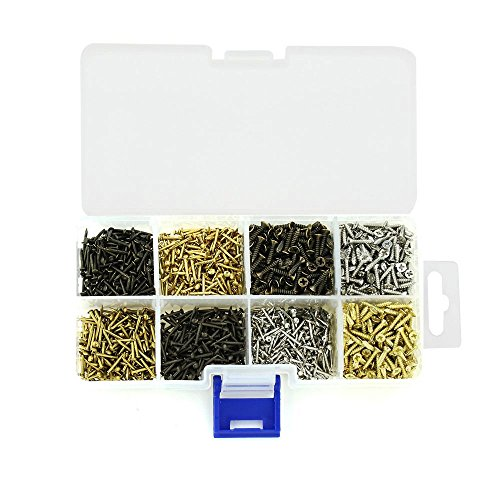 Linwood [8 in 1] Tiny Wooden Nails and Small Type-A Screws, Iron Round-head Nails, Flat-head Self Drilling Screws, Repair Kit for Home & Kitchen Handware 1600pcs (Mixed Screws)