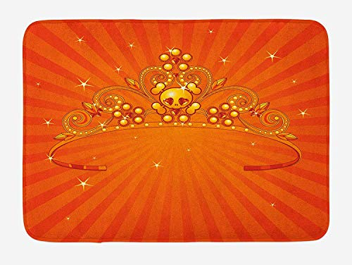 Queen Bath Mat, Fancy Halloween Princess Crown with Little Skull Daisies on Radial Orange Backdrop Stars, Plush Bathroom Decor Mat with Non Slip Backing, 23.6 W X 15.7W Inches, Orange -