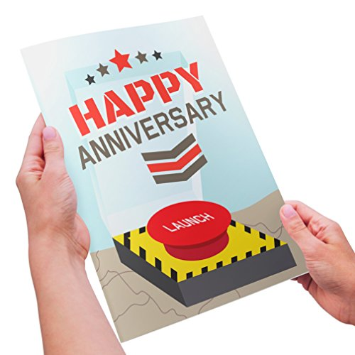 Funny Anniversary Card (Dirty Humor - Funny Anniversary Card For Him - Launch the Love Missile , Invade Me With Your Weapon of Mass Destruction - XL Size)