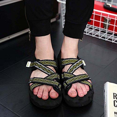 ZXCV Zapatos al aire libre La playa al aire libre del color puro de los hombres calza las sandalias respirables Negro