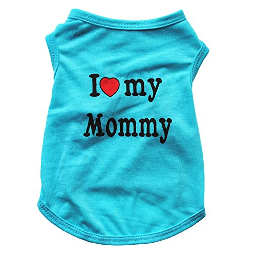 Floralby I Love My Daddy Mommy Puppy Small Dogs Vest T-Shirt Cotton Summer Sleeveless Tank Top Pet Apparel -