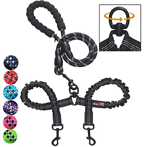 tobeDRI Comfortable Dual Dog Leash Tangle Free with Shock Absorbing Bungee Reflective 2 Dog Leashes for Large Medium Small Dogs 2 Dog Leash Leash