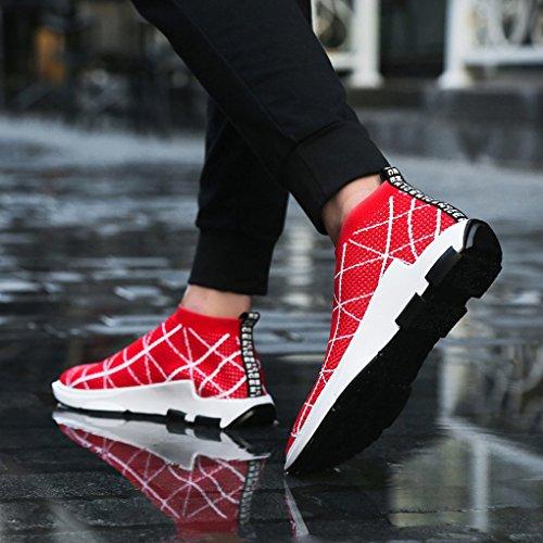 SITAILE Herren Leichte Mode Turnschuhe Outdoor Atmungsaktive Sportschuhe Laufschuhe Linien rot