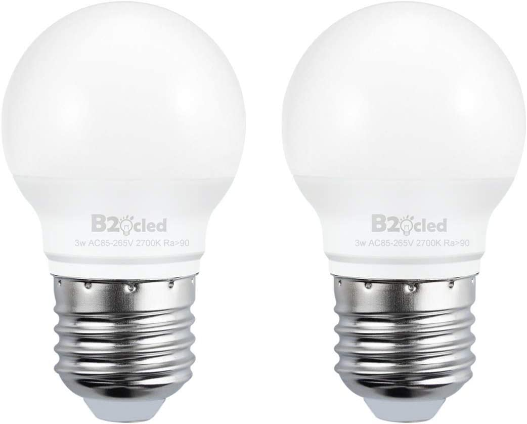B2ocled LED Light Bulb,3W(25 Watt Equivalent) A15 Lamp Warm White 2700K Non-Dimmable, E26/E27 Base for Home Lighting Decorative, CRI90+, 240-Lumen, 2-Pack