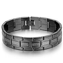 JewelryWe Men's Stainless Steel Bracelet Link Greek Key High Polishing Classic Cuff Bangle(Black color) Valentine's Day Gift