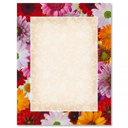 Daisy Frame Easter Letter Papers - Set of 25 Floral Stationery Papers are 8 1/2