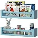 Set of 2 Nursery Room Wall Shelf Aqua Blue Wood