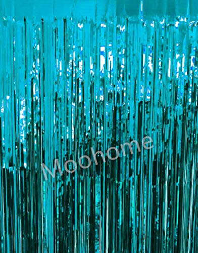(Moohome 2 Pack 3ft x 8ft Aquamarine Foil Fringe Curtain Backdrop Door Window Curtain Party Decoration)