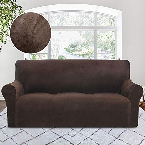 Leather Brown Rich Chocolate - RHF Velvet-Sofa Slipcover, Stretch Couch Covers for 3 Cushion Couch-Couch Covers for Sofa-Sofa Covers for Living Room,Couch Covers for Dogs, Sofa Slipcover,couch slipcover(Chocolate-Sofa)
