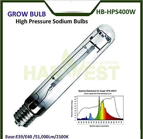 400Watt E39/E40 50000 Lumens 2100K High Pressure Sodium Grow Lights Bulbs HPS for Indoor Plant Flowering Growth, Plant Grow Lamp, (Spectrum 400w Hps Bulb)