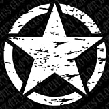 """22"""" Freedom Star Distressed Military Decal Fits Jeep Rubicon Wrangler JK Liberty Willy's With Free Bumper Sticker (White)"""
