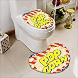 L-QN 2 Piece Toilet Toilet Mat Collection Popcorn Vintage Grunge Delicious Buttery Fresh Tasty Rusty Movie Advertising Film Image Non-Slip Soft Absorbent Bath