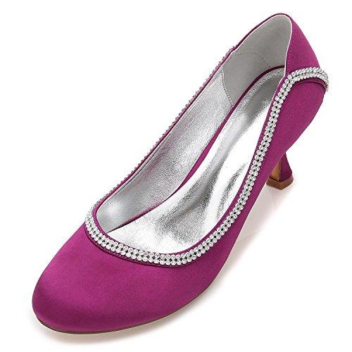L@YC Zapatos De Mujer, T-17061-47, Zapatos De Boda, Zapatos De Novia, SatéN Bajo, Zapatos De Encaje Gatito Bajo, TacóN De Purple