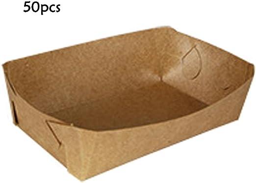 Papel kraft Bandeja de laminación Cartón a prueba de aceite Lonchera para llevar Caja desechable para barco Pollo frito Papas fritas Palomitas de maíz Barbacoa A prueba de aceite Bandeja 50pcs: Amazon.es: