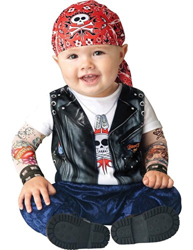 Infant Boy Halloween Costume: Baby Biker Costume (0-6 Months with Bracelet for (Father And Son Halloween Costumes)