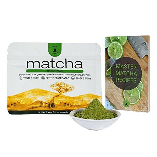 Matcha Green Tea Powder + Free Recipe eBook - 30 Gram Starter Size (1.06 Ounce) Certified Organic, Culinary Grade, Vegan, No Gluten, Non-GMO, No Preservatives, Sugarless