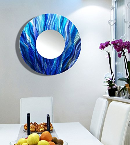 Large Round Blue Abstract Wall Mirror - Painted Modern Metal