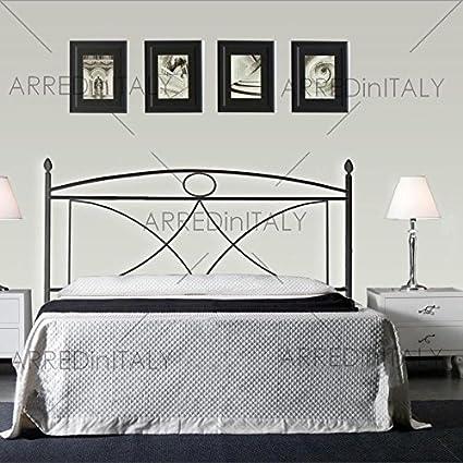 Letto A Baldacchino 160.Letto Matrimoniale In Ferro Colore Nero Grafite Con Baldacchino