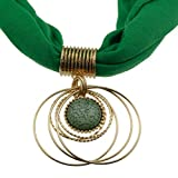 Green Adjustable Chain Short Scarf in Gold with Vintage Charm Elegant Green Crystal, Hoops Pendant Choker