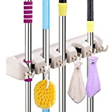 Mop and Broom Holder Imillet Wall Mounted Organizer Storage Tool Holds Up to 11 Tools Ideal Broom Hanger for Kitchen Garden and Garage (Upgraded Version) (Single Pack)