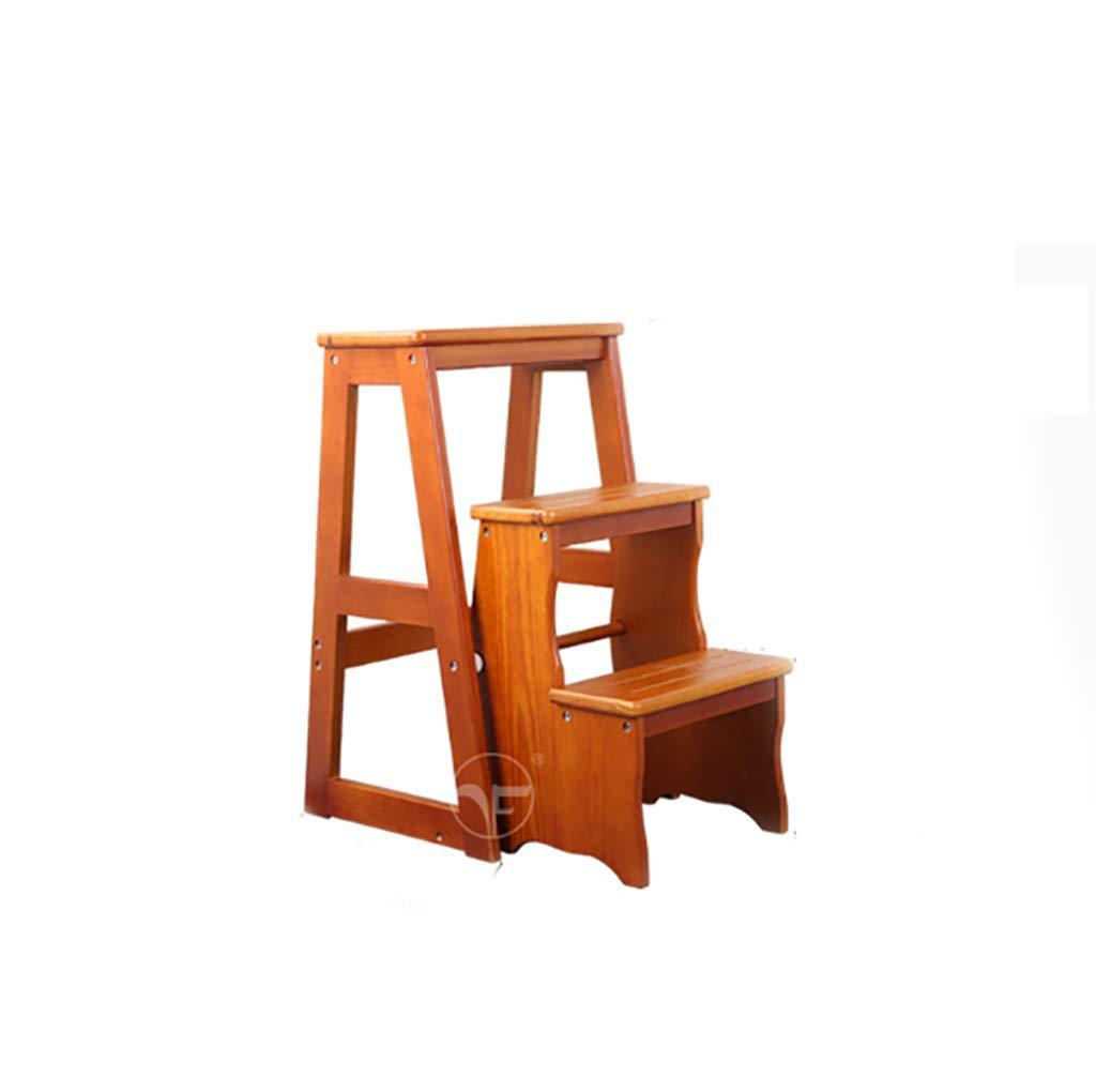 CCJW Semplice scaletta Pieghevole per Uso Domestico in Legno massello Sgabello per Interni Sedia scaletta, Multifunzione Sgabello per Scale Mobile Scaletta (colore    1)