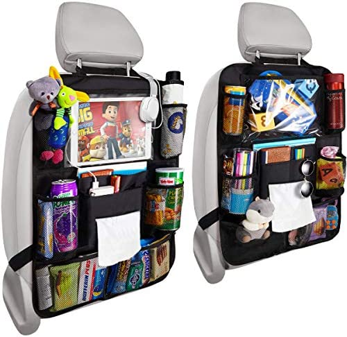 Update Version 2 Pack Car Backseat Organizer Foldable Car Seat Back Protectors with Touch Screen Tablet Holder Tissue Box Car Storage Organizer with 8 Storage Pockets Earphone/Charging Hole for Car Travel