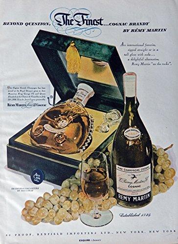 remy-martin-cognac-vintage-print-ad-50s-color-illustration-crystal-decanters-by-baccarat-original-ra